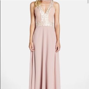 Dress The Population pink sequin gown, size small
